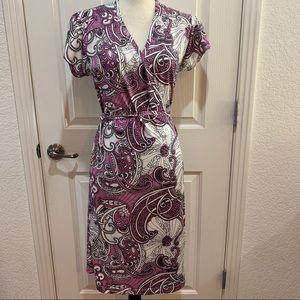 Athleta Paisley Wrap Dress Medium Like New Purple
